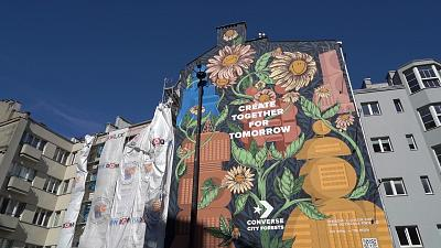 The floral mural in Warsaw, Poland