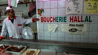File pic: A halal butcher in France