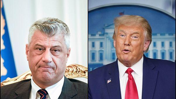 Kosova Cumhurbaşkanı Haşim Thaci (solda), ABD Başkanı Donald Trump (sağda)