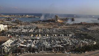 موقع انفجار في ميناء بيروت، لبنان، الأربعاء ، 5 آب 2020  بسبب نخزين مادة نيترات الأمونيوم