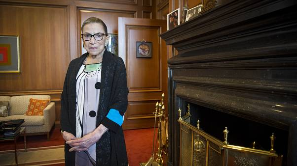 Associate Justice Ruth Bader Ginsburg is seen in her chambers in at the Supreme Court.