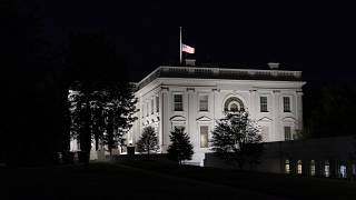 The flag at the White House flies at half-staff Friday, Sept. 18, 2020, in Washington, after the death of Supreme Court Justice Ruth Bader Ginsburg.