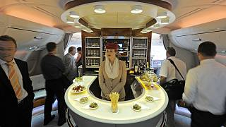 A bar in the first class section on board Airbus A380 passenger plane of Emirates Airline