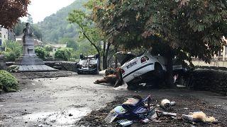 Dégâts dans la commune de Valleraugue dans le Gard en France suite aux inondations du 20 septembre 2020
