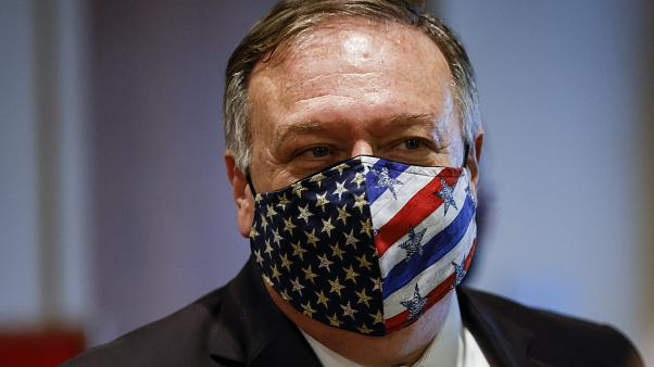 FILE - In this Aug. 20, 2020 file photo Secretary of State Mike Pompeo departs a meeting with members of the UNSC about Iran's alleged non-compliance with a nuclear deal.