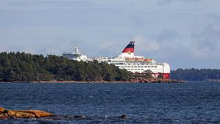 Viking Line ferry M/S Amorella run aground off the Aland islands, as seen from Finland.