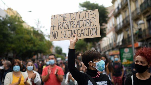 Manifestación en Vallecas contra los confinamientos selectivos