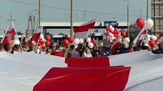 Manifestacion de motociclistas en la frontera de Polonia con Bielorrusia