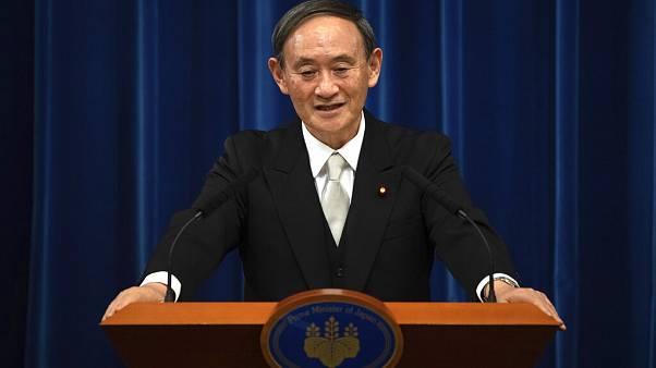 Yoshihide Suga speaks during a press conference at the prime minister's official residence, Sept. 16, 2020 in Tokyo,