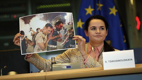 Svetlana Tikhanovskaïa lors de son audition devant la commission des affaires étrangères du Parlement européen à Bruxelles, lundi 21 septembre 2020
