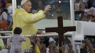FILE: Pope Francis waves to the faithful after celebrated his final Mass in Manila, Philippines, Jan. 18, 2015.