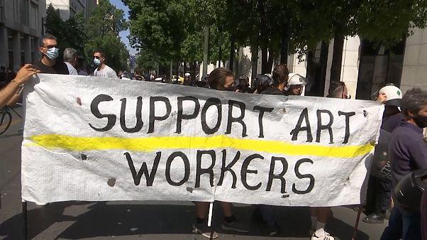 Künstler-Demo vor dem Arbeitsministerium in Athen