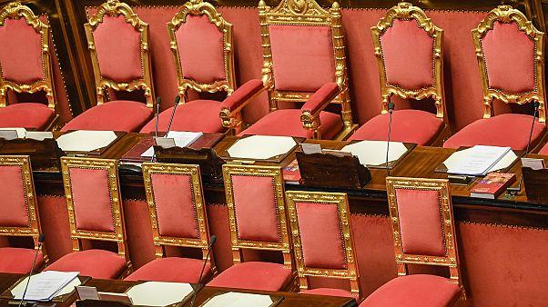 I banchi del governo al Senato
