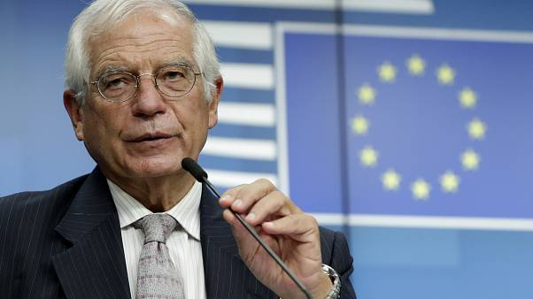 European Union foreign policy chief Josep Borrell after a meeting of EU foreign affairs ministers at the European Council building in Brussels, Sept. 21, 2020.
