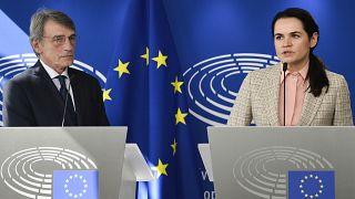 Belarusian opposition leader Sviatlana Tsikhanouskaya, right, and European Parliament President David Sassoli