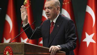 Turkey's President Recep Tayyip Erdogan, talks in a televised address, following a cabinet meeting, in Ankara, Turkey, Monday, Sept. 21, 2020.