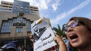 من مظاهرة مؤيدة للصحافي خالد درارني الذي حكم عليه بالسجن