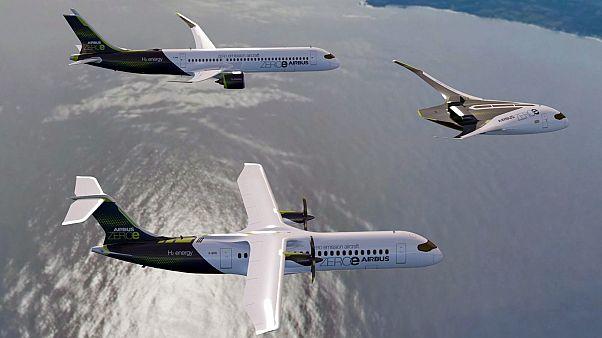 نماذج الطائرات الثلاث كما عرضتها إيرباص الأوروبية
