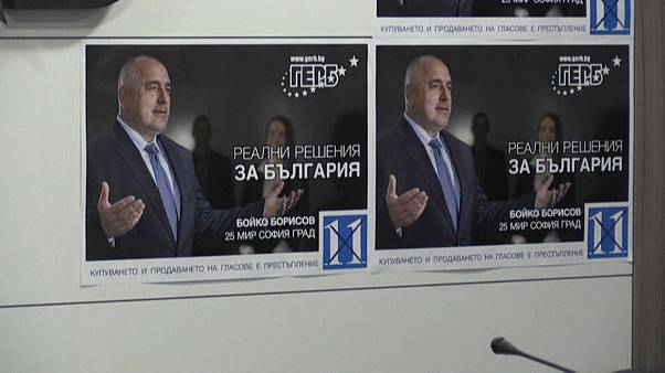 Close-up of posters with Boyko Borisov's face on it