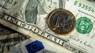 Euros and US dollar bills taken in Godewaersvelde, Northern France