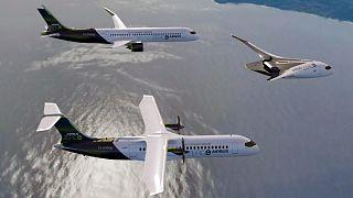 Vue virtuelle des trois concepts d'avion fonctionnant à l'hydrogène présentés par Airbus