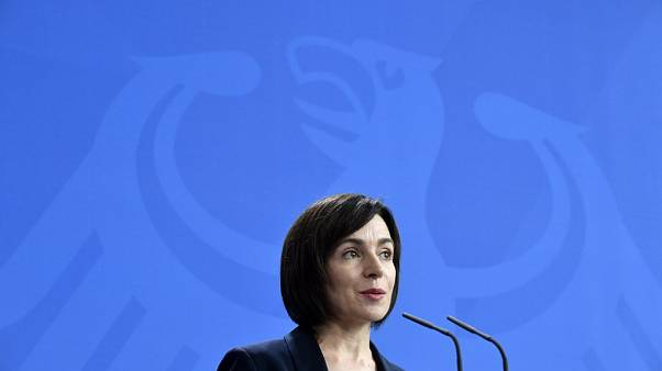 Moldova's then-Prime Minister Maia Sandu speaks during a press conference with German Chancellor at the Chancellery in Berlin on July 16, 2019