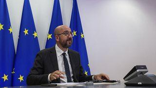 Charles Michel videkonfrerencián Brüsszelben 2020. szeptember 22-én