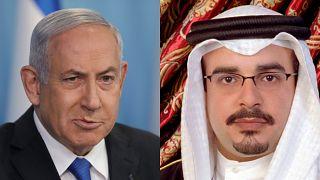 ولي عهد البحرين سلمان بن حمد آل خليفة ورئيس الوزراء الإسرائيلي بنيامين نتنياهو