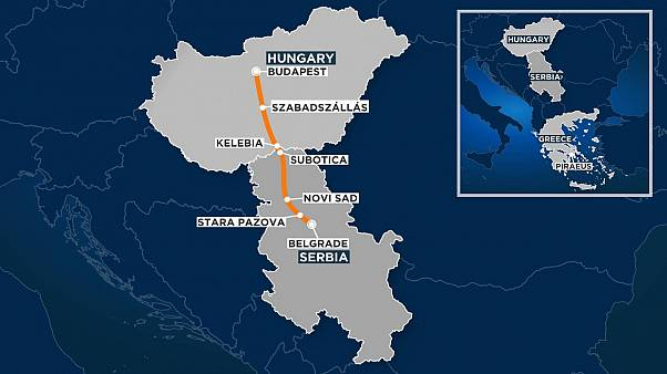 The route of the Budapest-Belgrade rail link