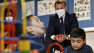 French President Emmanuel Macron during a visit to a Mother and Child Protection Centre on  Sept. 23, 2020.