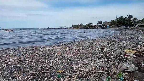 شاهد: إزالة قمامة جرفتها أمواج البحر على طول الساحل الكاريبي في هندوراس
