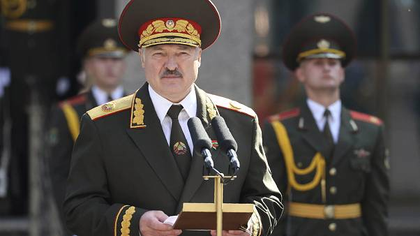 Belarusian President Alexander Lukashenko delivers a speech during his inauguration ceremony at the Palace of the Independence in Minsk, Belarus, Sept. 23, 2020.
