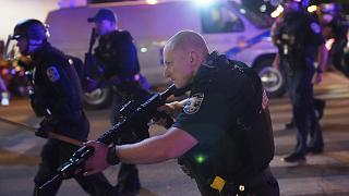 Police move after two Louisville police officers was shot, Wednesday, September 23, 2020, in Louisville, Kentucky.