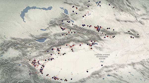 Uydu görüntüleri yardımıyla yeri tespit edilen Doğu Türkistan'daki bazı toplama kampları
