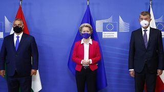Orbán Viktor, Ursula von der Leyen és Andrej Babiš Brüsszelben, a szeptemberi V4-csúcson.