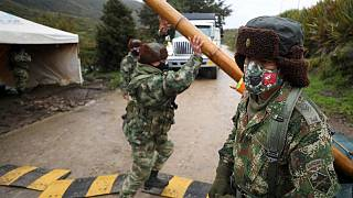 Colombia, army checkpoint