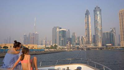 Exploring Dubai's iconic coastline by boat