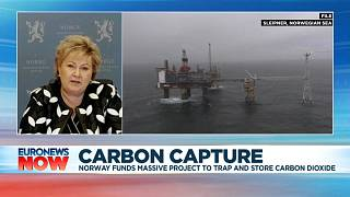 """Norway's Prime Minister Erna Solberg explaining the """"Longship"""" carbon capture and storage project"""
