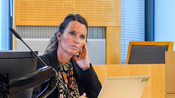 محامية الشرطة آن كارولين بيكن من جهاز الأمن في الشرطة النرويجية خلال اجتماع في محكمة على صلة بهجوم باريس 1982 - أوسلو 2020/09/10