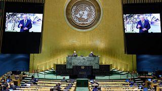 سكوت موريسون، رئيس وزراء أستراليا يتحدث في رسالة مسجلة خلال الدورة 75 للجمعية العامة للأمم المتحدة.