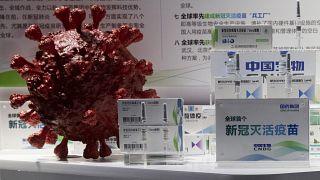 Sinopharm vakcina egy 3D-s koronavírus modellel egy pekingi szakkiállításon 2020. szeptember 6-án