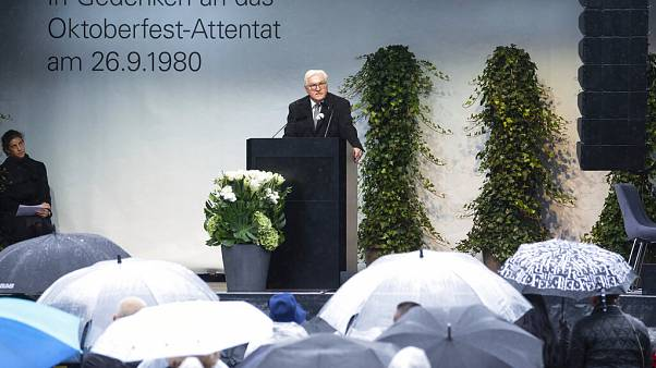 President Frank-Walter Steinmeier on the 40th anniversary of the right-wing terrorist attack on the Oktoberfest at the Theresienwiese in Munich, Germany.