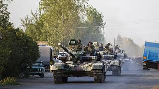 File photo: a convoy of Azerbaijan Army tanks pictured during an escalation in fighting between Azerbaijan and Armenia. August 2, 2014.