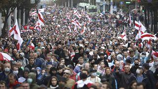 Başkent Minsk'te Lukaşenko'ya karşı protesto eylemi