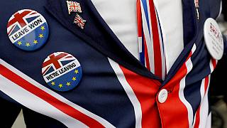 Un supporter pro-Brexit porte des badges lors d'une manifestation devant le Parlement à Londres, le lundi 28 octobre 2019.