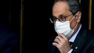 Catalan regional President Quim Torra leaves the Spanish Supreme Court in Madrid, Spain, Thursday, Sept. 17, 2020.