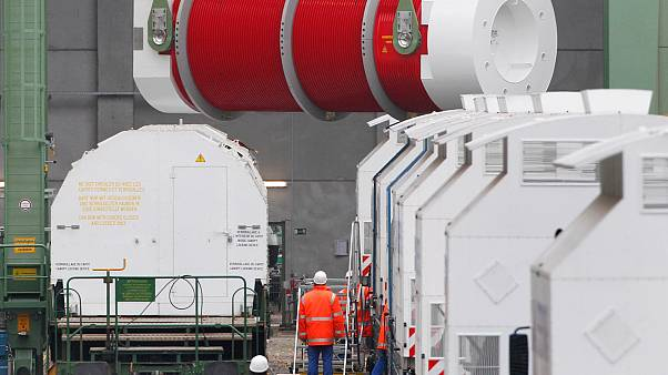 Archive - Un container de déchets nucléaires est déchargé à Dannenberg, près de Gorleben, le 8 novembre 2010