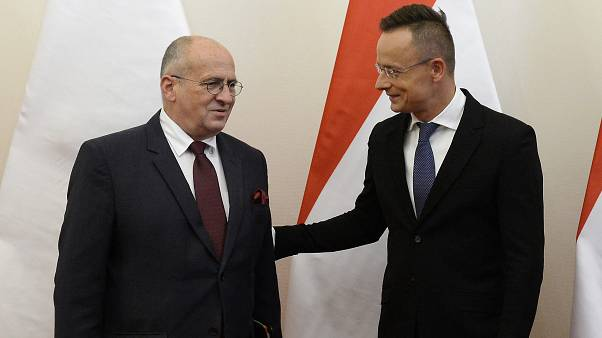 Hungarian Minister of Foreign Affairs and Trade Peter Szijjarto, right, welcomes his Polish counterpart, Zbigniew Rau