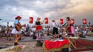 Celebraciones del Día Nacional suizo en Ginebra el 1 de agosto.