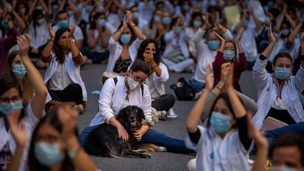 Manifestation des internes en médecine dénonçant leur condition de travail, Barcelone le 28 septembre 2020